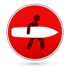 Red round stop sign with man and surfboard vector