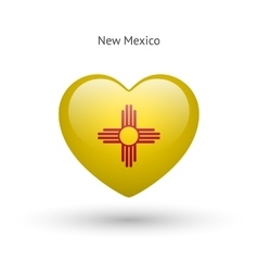 Love new mexico state symbol heart flag icon vector