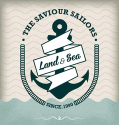 Nautical anchor isolated on old paper vector