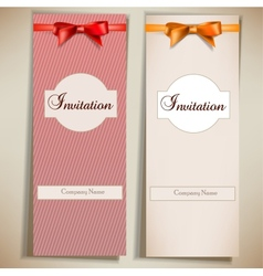 Retro card notes with ribbons red and beige vector