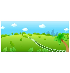 Railroad track over green landscape vector