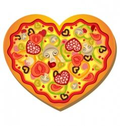Heart shaped pizza vector