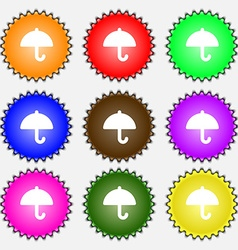 Umbrella icon sign a set of nine different colored vector