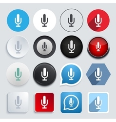 Modern microphone icons set vector