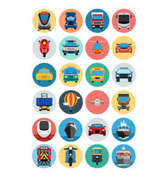 Flat transport icons 1 vector