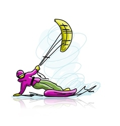 Kite surfer on snowboard sketch for your design vector