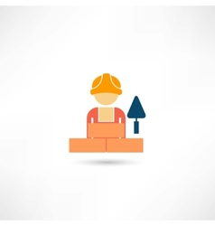 Worker with trowel icon vector