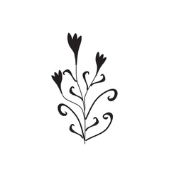 Black silhouette of flowers ornament vector
