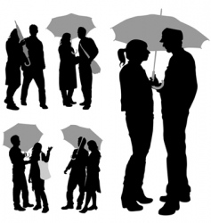 Couple under umbrella vector