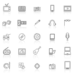 Entertainment line icons with reflect on white vector