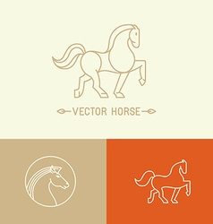 Horse logo template in trendy linear style vector