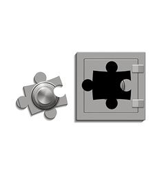 Metal safe with a lock as a jigsaw puzzle vector