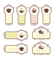 Set of labels with cupcakes vector