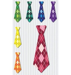 Bright plaid silk tie stickers in format vector