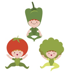 Cute vegetables characters vector