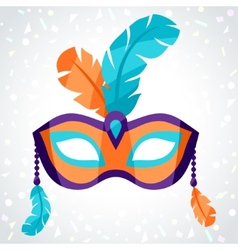 Festive carnival mask on background of confetti vector