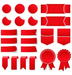 Red price tags and stickers vector