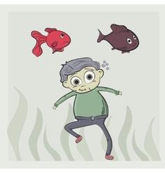 Kid swim vector