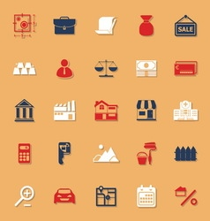 Mortgage and home loan classic color icons with vector