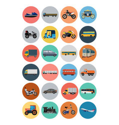Flat transport icons 4 vector