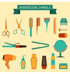 Hairdressing symbols vector