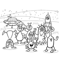 Cartoon ufo aliens group coloring book vector