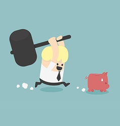 Piggy bank to be destroyed vector