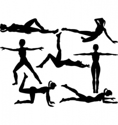 Aerobics silhouettes vector