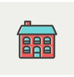 Retro flat house thin line icon vector