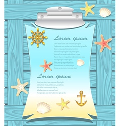Marine frame with anchor wheel shells starfishes vector