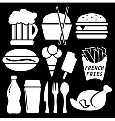 Set fast food isolated icon vector