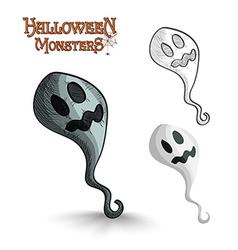 Halloween monsters scary cartoon ghost eps10 file vector