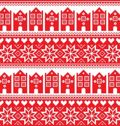 Nordic winter seamless red pattern with houses vector