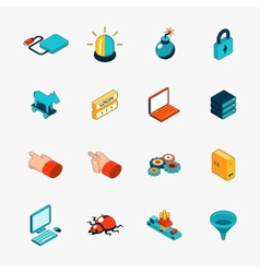 Isometric 3d internet security web icons vector