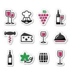 Wine labels set - glass bottle restaurant food vector