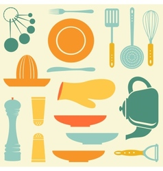 Retro kitchen collection vector