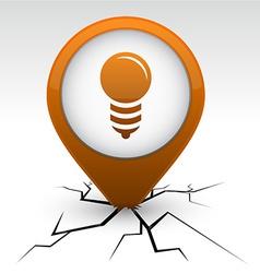 Bulb orange icon in crack vector