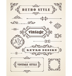 Set of retro vintage badges frames labels and vector