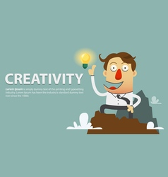 Creative light bulb with success businessman vector