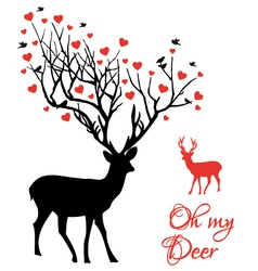 Deer couple with red hearts vector