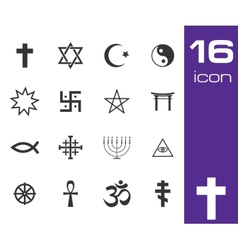Black religious symbols set vector