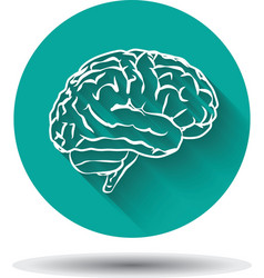 Human brain icon flat with shadow vector