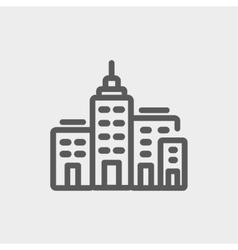 Condominium building thin line icon vector