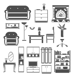 Interior icons black set vector
