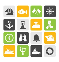 Silhouette sea and nautical icons vector