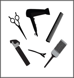 Hairdressers tools for barber shop and beauty vector