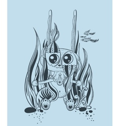 It is a cute underwater creature vector