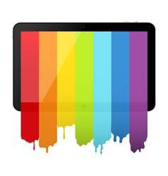 Tablet pc with rainbow paint vector