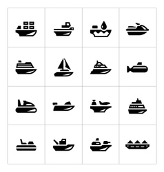 Set icons of water transport vector