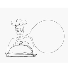Doodle cook on a white background vector